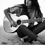 Joan Baez Playing Guitar On The Beach Poster