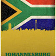 Johannesburg South Africa World City Flag Skyline Poster