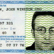John Lennon Immigration Green Card 1976 Poster