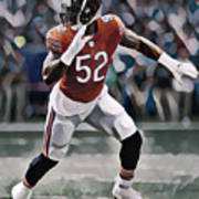 Khalil Mack Chicago Bears Abstract Art 1 Poster