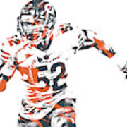 Khalil Mack Chicago Bears Pixel Art 30 Poster