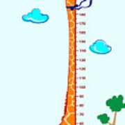 Kids Height Scale In Giraffe Vector Poster