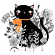 Kitty Kitty Sitting Pretty With Flowers All Around Poster