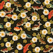 Koi And Lily Pads In Dark Water Poster