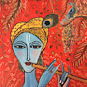 Krishna With Flute Poster