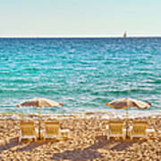 La Croisette Beach, Cannes, Cote Dazur Poster