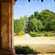La Purisima Mission Garden From The Arcade Poster