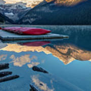 Lake Louise Canoes In Banff National Poster