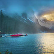 Lake Louise Canoes In The Morning Poster