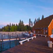 Lake Tahoe Cabin on the Lake Sunset Poster