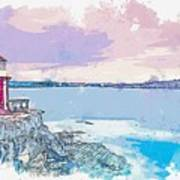Lighthouse, Sydney, Australia -  Watercolor By Ahmet Asar Poster