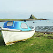 Lindisfarne Castle, Bay And Boat Poster