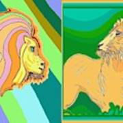 Lion Pair Cool Poster