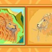 Lion Pair Warm Poster