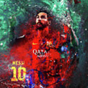 Lionel Messi In Barcelona Kit Poster