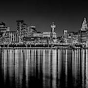 Liverpool Skyline In The Night Black And White Poster