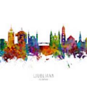 Ljubljana Slovenia Skyline Poster
