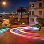 Lombard Street And The Bay Bridge Poster