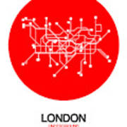 London Red Subway Map Poster