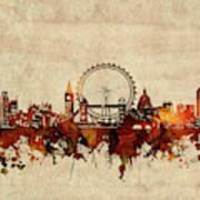 London Skyline Sepia Poster