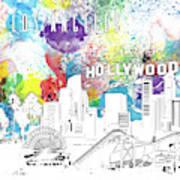 Los Angeles Skyline Panorama Watercolor Poster