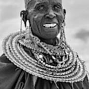 Maasai Woman In Black And White Poster