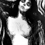 Madonna, Lithograph By Edvard Munch Dedicated To Dr Bucher Poster