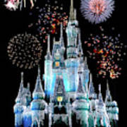 Magic Kingdom Castle In Frosty Light Blue With Fireworks 06 Poster