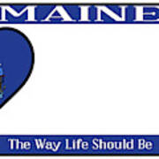 Maine State License Plate Poster