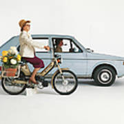 Man Driving Car And Woman Riding Poster