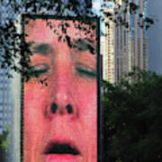 Man Face Crown Fountain Chicago Poster