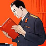 Man Is Reading Lenin Books Poster