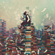 Man Reading Book While Sitting On Pile Poster