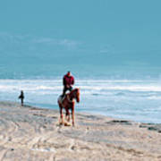 Man Riding On A Brown Galloping Horse On Ayia Erini Beach In Cyp Poster
