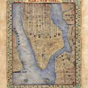 Manhattan New York Antique Map Brooklyn Hand Painted Poster