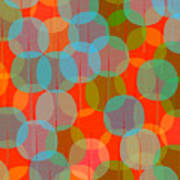 Many Coloured Balls In Pattern On Black Poster