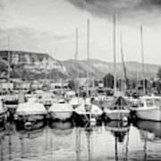 Marina Geneva Switzerland Black And White Poster