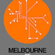 Melbourne Orange Subway Map Poster