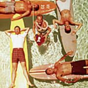 Men On Surfboards In Pool Sipping Drinks Poster