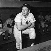 Mickey Mantle In Yankee Dugout Poster