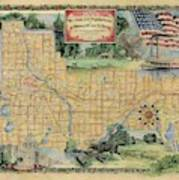Minneapolis St. Paul Map Vintage Custom Map Art Hand Painted Poster