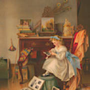 Miss Oakley Making The Scrapbook 1866 Poster
