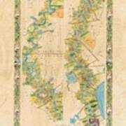 Mississippi River Historic Map Lousiana New Orleans Baton Rouge Map Farming Plantation Hand Painted  Poster
