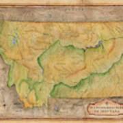 Montana Custom Map Art Rivers Map Hand Painted Poster