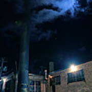 Moon Over Industrial Chicago Alley Poster
