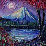 Mount Fuji - Textural Impressionist Palette Knife Impasto Oil Painting Mona Edulesco Poster