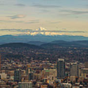 Mount Hood View Over Portland Cityscape Panorama Poster