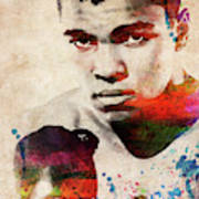 Muhammad Ali Watercolor Portrait Poster