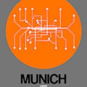 Munich Orange Subway Map Poster