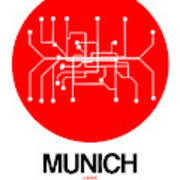 Munich Red Subway Map Poster